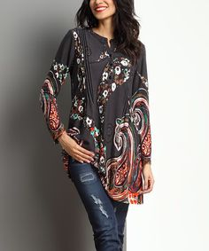Love this Charcoal Swirl Notch-Neck Tunic by Reborn Collection on #zulily! #zulilyfinds