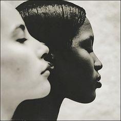 """Ebony & Ivory"" (1993)    (Christy Turlington and Naomi Campbell)    Photographer: Anton Corbijn, The Netherlands"
