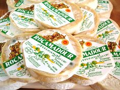 Rocamadour cheese - wonderful with simple green leaves and rustic baguette.