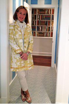 Anne Danis wearing Newport Long Coat in chartreuse Nirvana Shadow. (Oct. 2012)