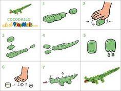 Crocodile made from playmais plantillas or magic nuudles - Buscar con Google