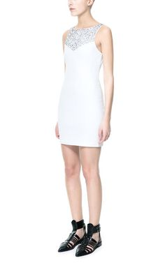 Image 1 of FITTED DRESS WITH EMBROIDERED NECKLINE from Zara