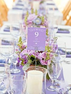 Lavender And Lilac Wedding Inspiration #wedding #tablescape #purple #urquidlinen