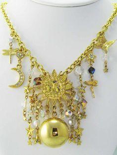 Discontinued~ KIRKS FOLLY Harmony Ball CELESTIAL SUN STARS MOON Charm Necklace
