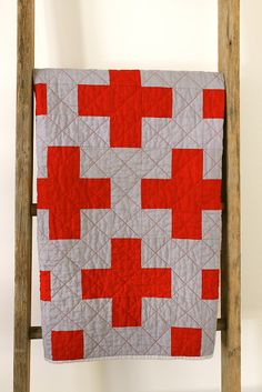 craftyblossom: Red Cross quilt. white, gray, and/or black