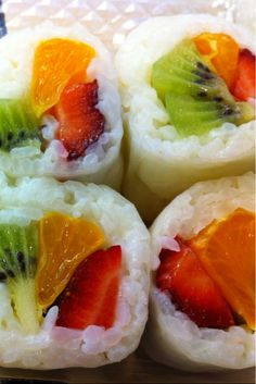 Fruit sushi: sticky rice, fresh fruit - dip in honey yogurt sauce.