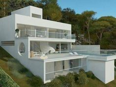 Dream House Exterior, Dream House Plans, Concept Architecture, Modern Architecture, Houses On Slopes, Modern Villa Design, House On Stilts, Hillside House, Bungalow House Design