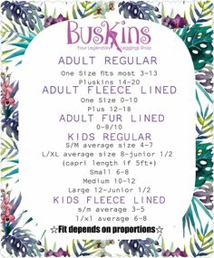 Sizing chart for Buskins. See something and want to give it a try, contact me and lets see what we can do! :) Or if you are ready, visit my website. https://annabellabrogan.mybuskins.com/