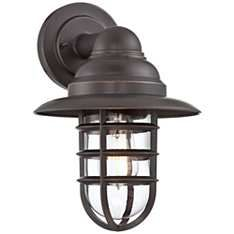 "Marlowe Bronze 13 1/4""H Hooded Metal Cage Outdoor Wall Light"