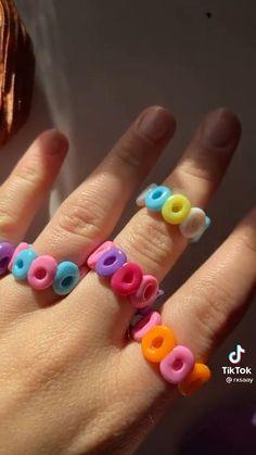 Handmade Wire Jewelry, Diy Crafts Jewelry, Fun Diy Crafts, Ring Crafts, Cute Jewelry, Funky Jewelry, Trendy Jewelry, Fimo Ring, Polymer Clay Ring