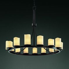 Justice Design Group CNDL-8715 - Dakota 15 Light 1 Tier Ring Chandelier - Cylinder with Melted Rim - Dark Bronze with Cream Shade | from hayneedle.com