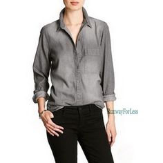 New Nwt BANANA REPUBLIC Womens Medium Gray Grey Ombre Denim Jeans LS Shirt Top #BananaRepublic #ButtonDownShirt #Casual