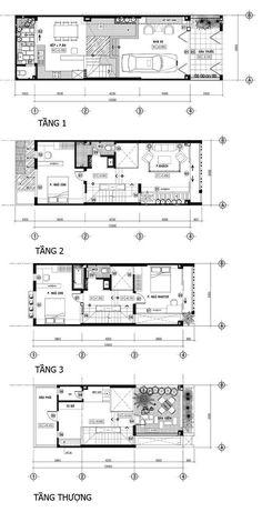 Nhà phố 60m2 riêng tư với hệ thống lam độc đáo | SotayNhadat.vn Narrow House Designs, Narrow House Plans, Modern House Design, House Floor Plans, Detail Architecture, Architecture Plan, Home Design Plans, Plan Design, Planer Layout