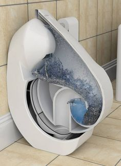 Another contender for a water-saving toilet; this one folds up discreetly when not in use.