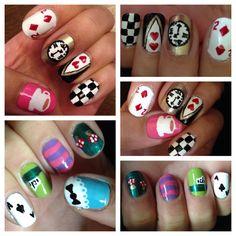 Alice in wonderland nails Nail Art Hacks, Nail Art Diy, Cute Nails, Pretty Nails, Alice In Wonderland Nails, Birthday Nail Art, Different Nail Designs, Disney Nails, Opi Nails