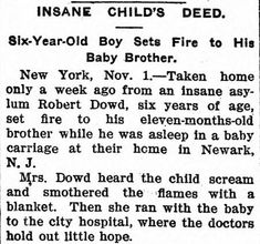 Insane children were an epidemic in the Of course, any type of poor behavior or emotional outbursts were considered signs of insanity back then. Scary Ghost Stories, True Horror Stories, Haunting Stories, Bizarre Stories, True Stories, Creepy History, Psychiatry, Old Boys, Writer