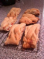 Pepperoni and cheese Stromboli slices for lunches.  Make ahead and freeze for later.