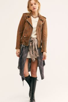 Understated Leather Distressed Easy Rider Jacket available at Free People Modern Outfits, New Outfits, Fall Outfits, Free Clothes, Clothes For Women, Riders Jacket, Suede Mini Skirt, Easy Rider, Punk
