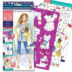 SUPER STYLE SKETCH BOOK GIRLS FASHION DESIGN  BOOK STICKER /& STENCIL SHEETS