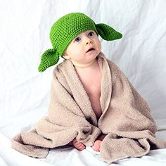 Milk protein cotton yarn handmade baby Yoda hat - fits 0 to 3 months baby * Read more at the image link.