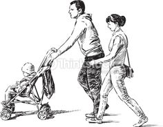 Image result for drawing family walking