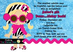 Winter Pool Party Birthday Invitation, Printable or Printed, Indoor Pool Party Invite by OneWhimsyChick on Etsy