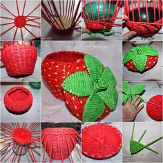 DIY Woven Strawberry Shaped Basket from Recycled Newspaper