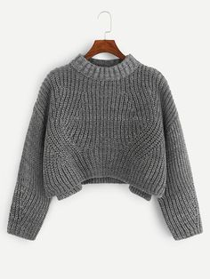 Slit Side Marled Knit Crop Sweater -SheIn(Sheinside) Discover The Los Fashion News, Fashion Outfits, Cute Casual Outfits, Grey Fashion, Womens Fashion, Cropped Sweater, Mannequins, Sweater Weather, Cute Tops