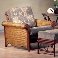 "Bundle-96 Rattan Floral Rosebud Futon Chair Frame (3 Pieces) Type: Ultimate (8"" thick) Natural, Size: Full by Night & Day. $1281.56"