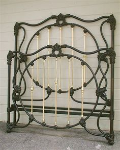 Beautifully designed Victorian Iron Bed w/ lots of interior brass, Great Castings, circa 1865  #ironbeds #antiqueironbeds