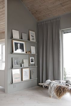 Love the idea of painting shelves the same colour as the walls
