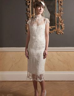 Fabulous New Arrival Short Wedding Dresses Sheath Illusion High Neck Lace Top Cap Sleeves Knee Length Mid