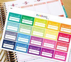 Bill Due Planner Stickers Erin Condren Life Planner by PlannerEnvy