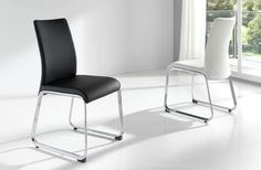 Xativa Dining Chair in White and Black Color with Chrome Legs