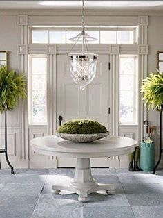 Tips for Styling Round Entry Tables – Cindy Hattersley Design – Decorating Foyer Decor, Interior, Home, Entry Foyer, Stone Flooring, Round Entry Table, Beautiful Stone Flooring, Entry Hall, House Interior