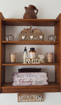 An old bookshelf in the bathroom is a great way to keep all those special things