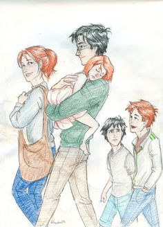 What happened after Hogwarts: Harry married Ginny Weasley. They had three children: James Sirius, Albus Severus, and Lily Luna. Mundo Harry Potter, Theme Harry Potter, Harry Potter Characters, Harry Potter Love, Harry Potter Books, Harry Potter Children, James Sirius Potter, Ginny Weasley, Harry Y Ginny