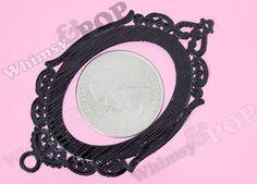 Large plain bronze setting oval pendant blank bezel fits 30 x 40 mm cabochon