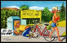 Vintage 1950 Bamforth signed Comic Postcard Cycling bicycle Safe parking theme