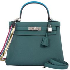 e2c73bcbf5d5 Hermes Kelly 28 Au Trot Malachite Tourquise + Black Handle Togo Palladium -  Special Edition