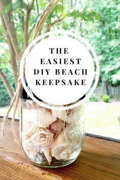 Destination wedding favors or honeymoon keepsakes   DIY Crafts: Make this easy beach keepsake with seashells, a mason jar and some chalkboard paint.