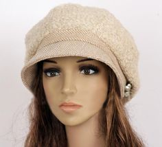 Slouchy Woman Hat Clothing Cap Beret Beige on Luulla