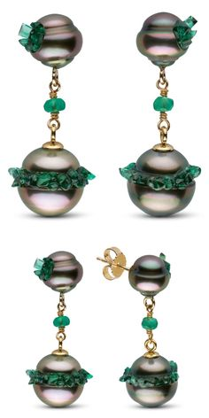 Stunning pearl earrings from the little h Spiral collection. The pearls are set with emeralds! Diamond Hoop Earrings, Diamond Bangle, Diamond Studs, Stone Earrings, Pearl Earrings, Emerald Jewelry, Bling Jewelry, Pearl Jewelry, Jewellery