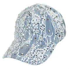 Something Special Lace and Denim Strapback Baseball Cap Dad Hat Sequin Hats.  Village Hat Shop 8ff4254d39d