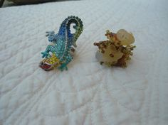 Set of 2 Adjustable Chunky Rings Cameleon Ring and Beaded ring Boho Hippie Jewelry by LandofBridget on Etsy