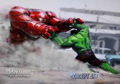 Concept art de Los Vengadores: Era de Ultrón (2015), Iron Man en la Hulkbuster vs. Hulk