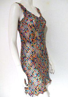 """1970s rainbow crochet dress unique """"friendship bracelet"""" technique. This is REALLY unique!"""