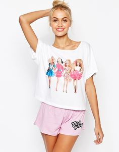 Image 1 of ASOS Barbie Girl Gang Short & Tee Pajama Set