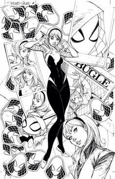Spider-Gwen, Vol. 1 # 01 Midtown Comics Exclusive Variant Cover, by J. Scott Campbell and Edgar Delgado.