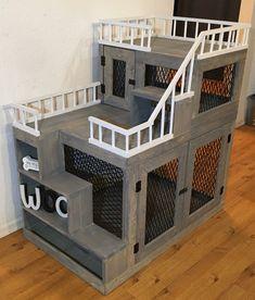 Dog Proof Litter Box, Dog Bunk Beds, Pet Bunny Rabbits, Cat Crate, Custom Dog Beds, Puppy Room, Dog Rooms, Pet Furniture, Tiny House Living